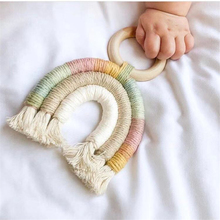 Rainbow Baby Teething Wooden Ring Boho Baby Rattle Teether Stroller Toys Wooden Baby Gym Infant Toys for Baby 0-12 Months Gift