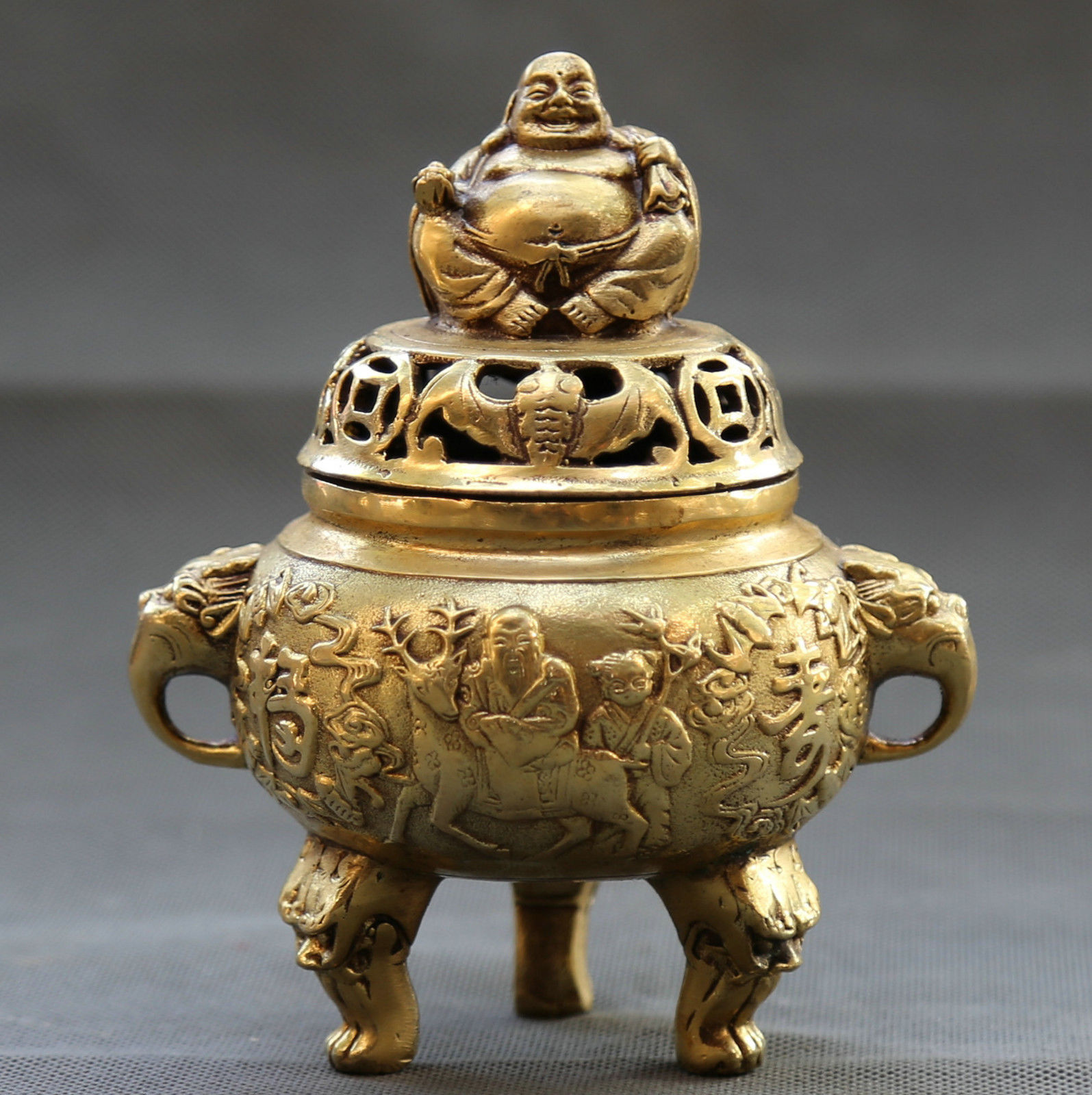 Collection Chinese Bronze Buddhism Happy Maitreya Buddha Longevity God Incense Burner Censer