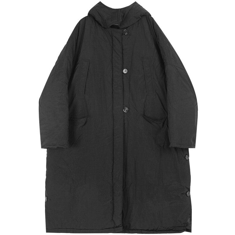 Gli Uomini di Inverno Lungo Allentato Giacca con Cappuccio Parka Cappotto Maschile Giappone Strada Scuro Nero di Cotone Imbottito di Spessore Del Cappotto Della Tuta Sportiva - 5