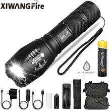 Portátil poderoso lâmpada led XML-T6 lanterna tocha linterna usa 18650 bateria carregável ao ar livre de acampamento táticas flash luz