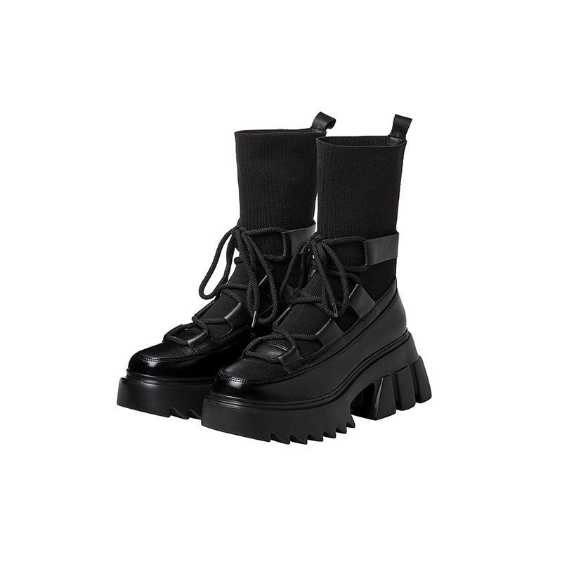 Prova perfetto 2020 nova plataforma de tecido estiramento botas da motocicleta botas de couro real rendas-up quente meias do vintage moda designer