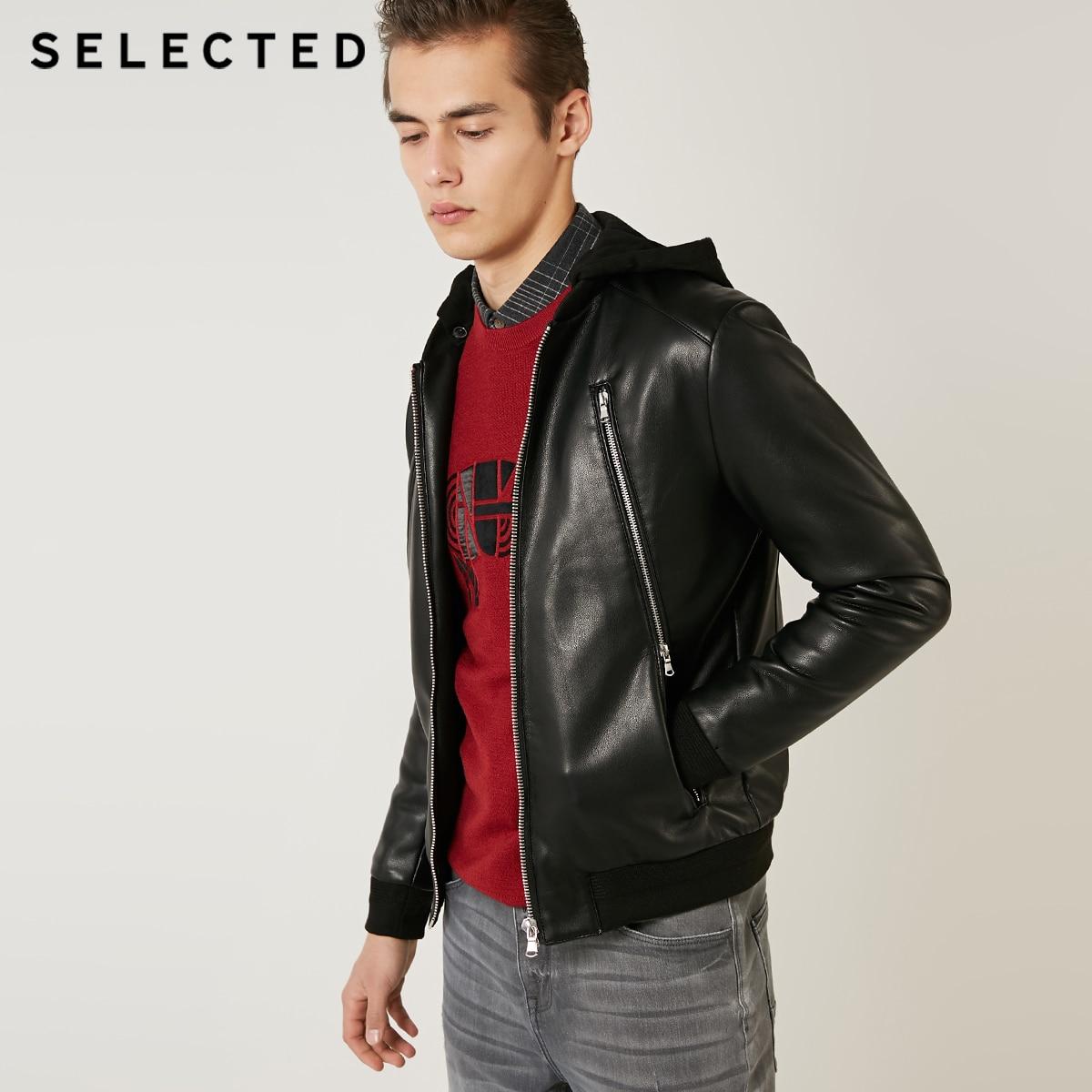 SELECTED Men's Regular Fit Coat Detachable Hood Zipper PU Leather Jacket S | 4191P3515
