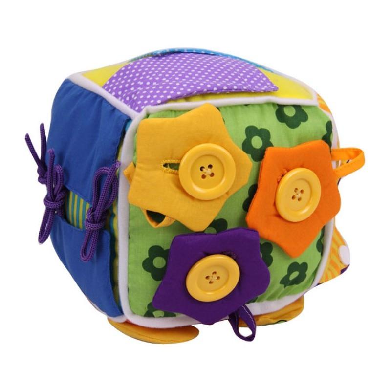 Bebê cedo brinquedos educativos bebê aprender montessori brinquedo pano aprender a vestir cubo recheado chocalho brinquedos educativos da criança 2019