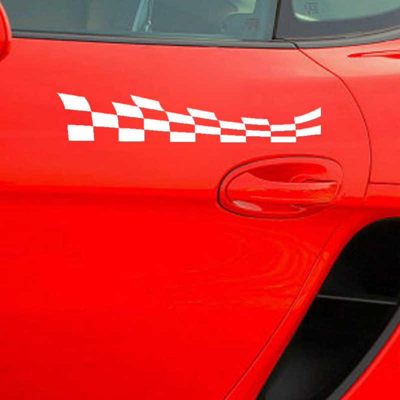 Pegatina a la moda para coche de Aliauto, banderas a cuadros, accesorios para motocicletas y automóviles de carreras, pegatina de PVC para VW Passat B5 Lada,20cm * 4cm