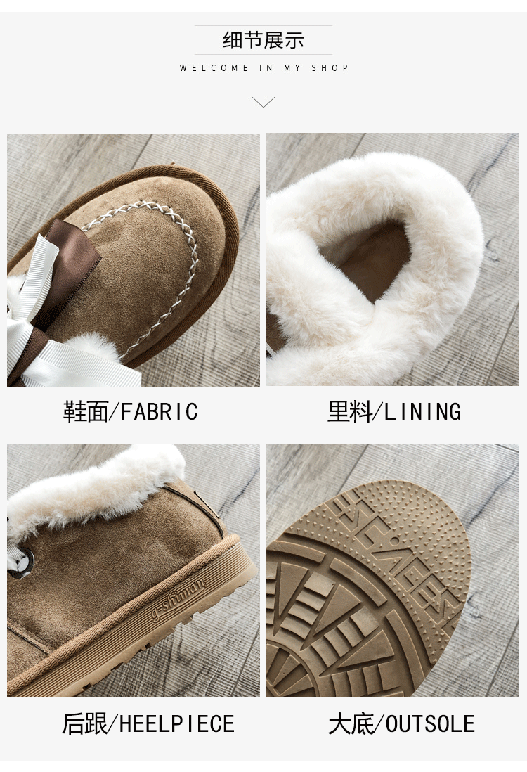 2019 Women Snow Boots Winter Ankle Boot Female Bow Warmer Plush Suede Rubber Flat Slip On Fashion Platform Ladies Shoes 41