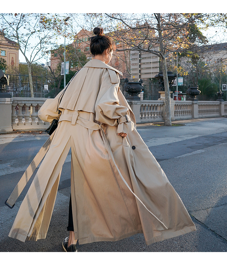 H23d2939a4751402cb3cb73fea9b48784V Korean Style Loose Oversized X-Long Women's Trench Coat Double-Breasted Belted Lady Cloak Windbreaker Spring Fall Outerwear Grey
