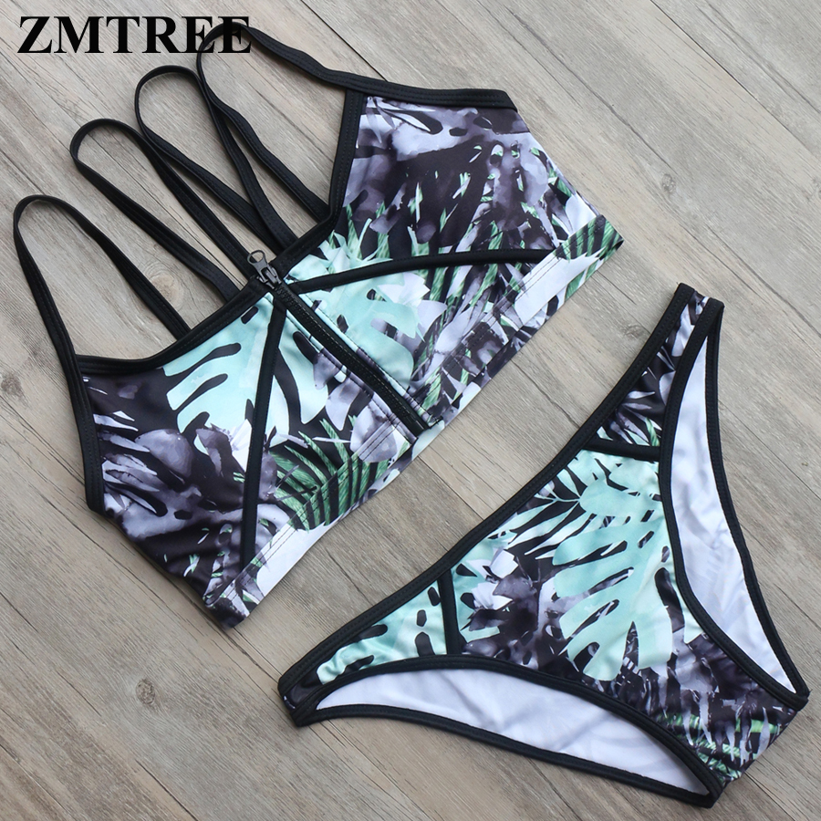 ZMTREE Sale Size M High Neck Swimwear Zipper Top Bikinis Set Women Cropped Biquini Summer Beach Swimsuit Sexy Maillot De Bain
