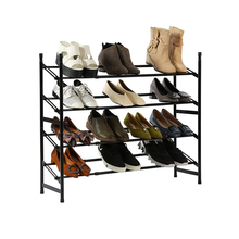 4 Layers Adjustable Shoe Rack Stainless Steel Home Assembled Shoe Storage Shelf Large Capacity Space-saving Closet Shoe Rack