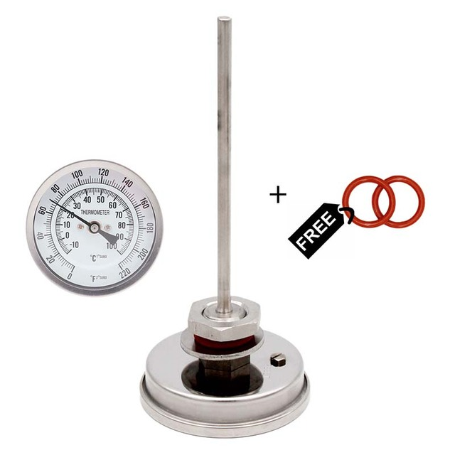 "Dial Thermometer   3""Face x 6"" Probe 1/2""NPT 0 220 F Beer Mush Tun Kettle Thermometer"