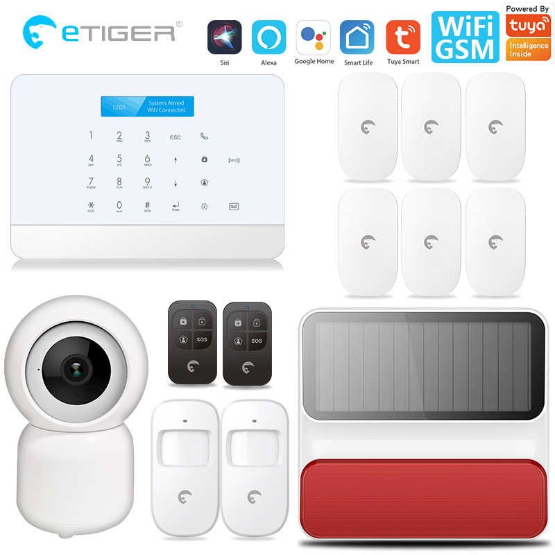 ETiger TY-S6 Professionelle Tuya alarm security system Smart home WIFI GSM Home Security Alarm System IP Kamera Alexa Google Hause