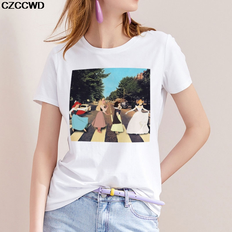CZCCWD Women Clothes 2019 White T Shirt Harajuku Fashion Princess Printed Tshirt Leisure Aesthetic Streetwear Female T-shirt Top