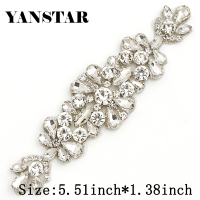 YANSTAR (6pcs)Wholesale 14*5CM Bridal Sash Rose Gold Crystal Rhinestones Appliques Accessory For Bridal Gown Belt YS982