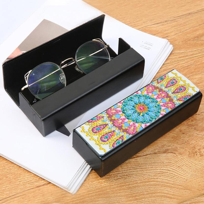 Leaves Umbrella Rain Weather Drip Glasses Case Eyeglasses Clam Shell Holder Storage Box