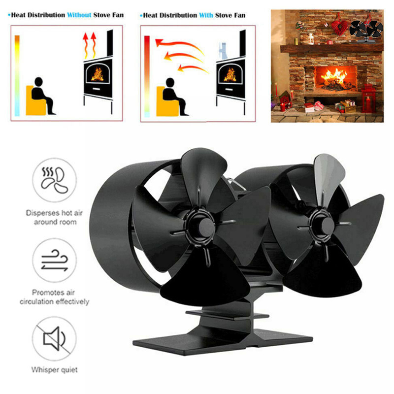Aluminum 180-210 Heat Powered Stove Double Fan Air Heater Wood Fireplace Winter