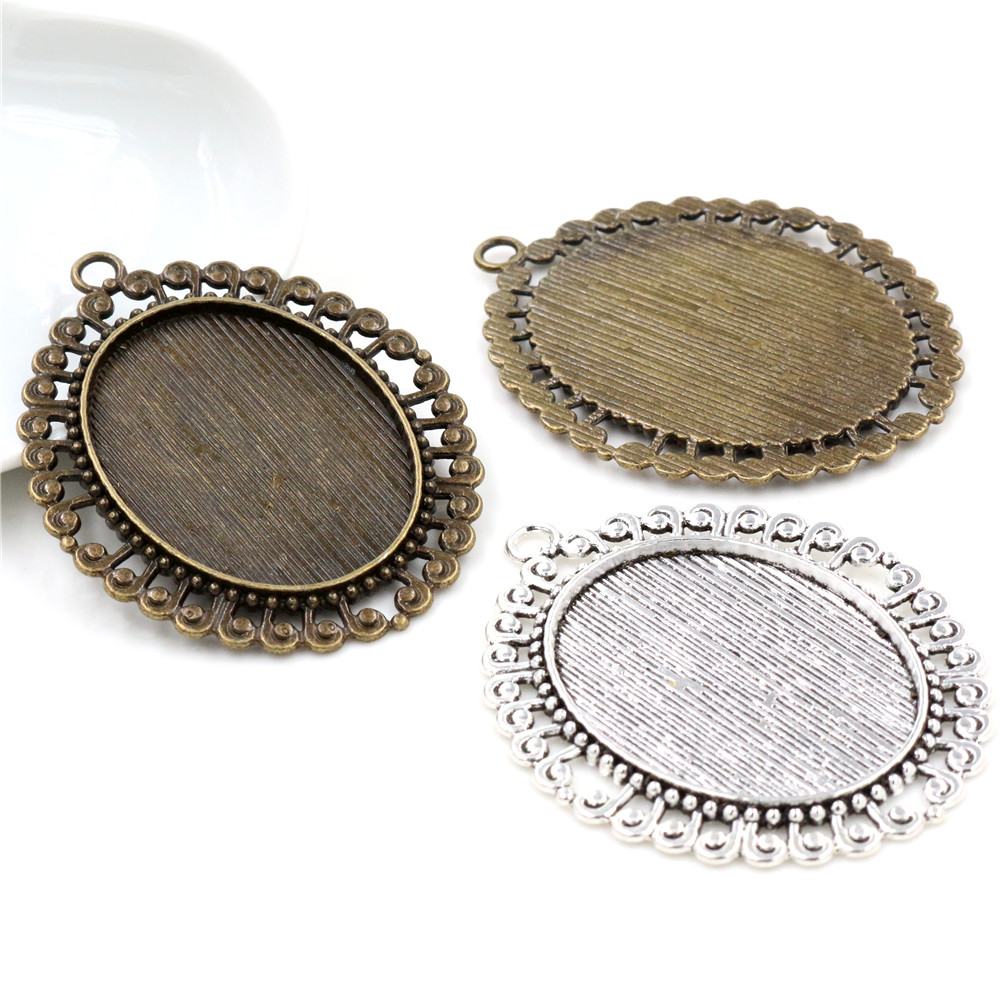 5pcs 30x40mm Inner Size Antique Bronze And Antique Silver Colors Plated Fashion Cabochon Base Setting Charms Pendant