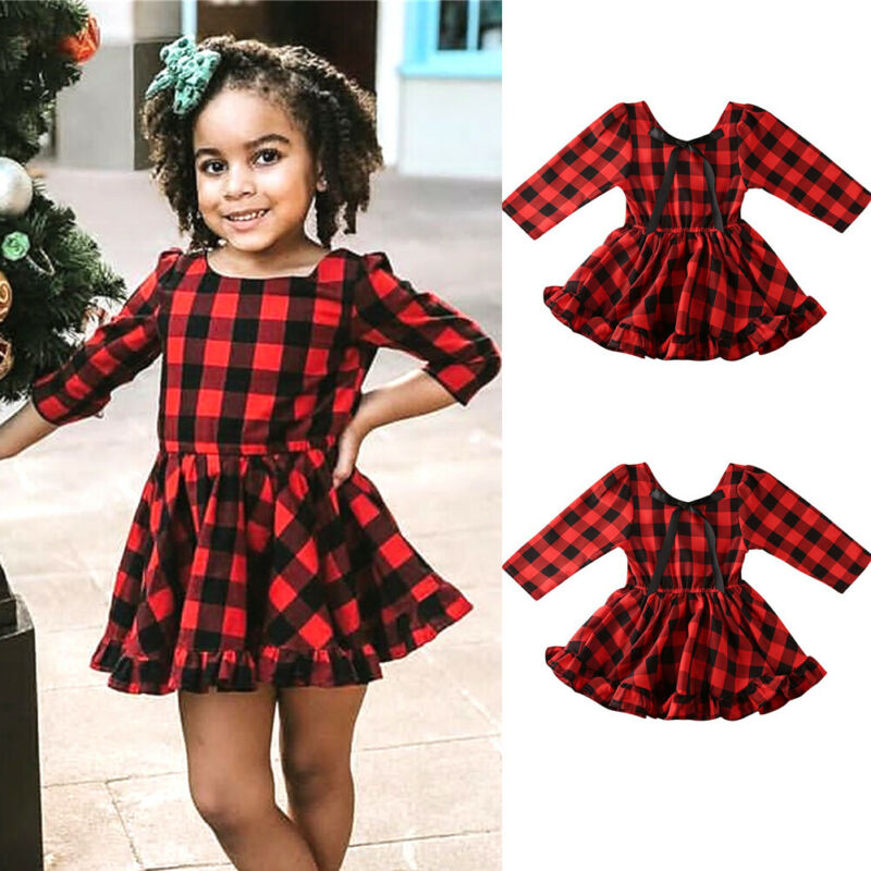 Sweets <font><b>Christmas</b></font> <font><b>dress</b></font> 2019 Toddler Baby <font><b>Girl</b></font> <font><b>red</b></font> Plaid Clothes <font><b>long</b></font> <font><b>sleeve</b></font> Xmas Ruffle <font><b>dress</b></font> Flared Party Plaid Swing <font><b>Dresses</b></font> image
