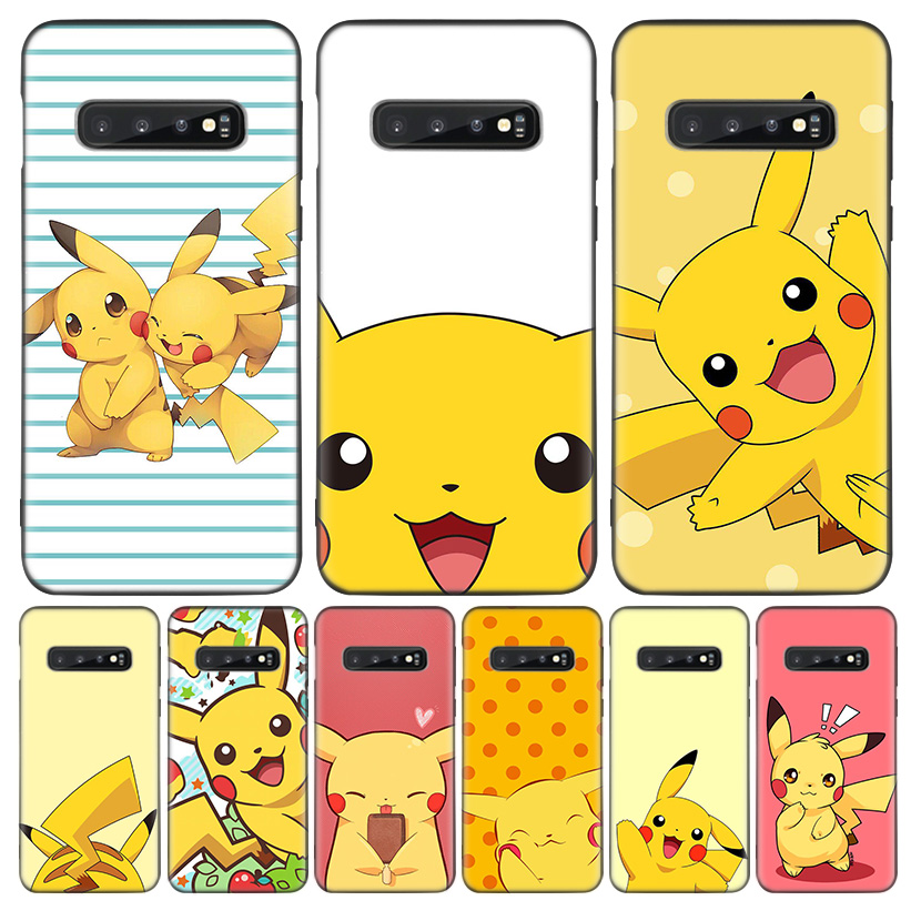 Pikachue Pocket Monsters Black Cover Phone Case For Samsung Galaxy A50S A10S A20S A10 A20E A30 A40 A50 A70 M40 M30S A80 Coque Sh image
