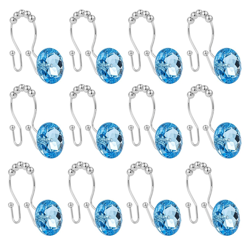 Shower Curtain Hook Ring Acrylic Double Shower Curtain Ring Stainless Steel Rust Double Sliding Shower Hook Shower Rod Curtain a|Hooks & Rails| |  - title=