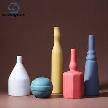 Strongwell Ceramic Flower Vase Nordic Decoration Home Morandi Color Matte Design Wedding