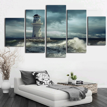 5 Pieces diamond mosaic Lighthouse Cloudy Rough Wave Seascape diy diamond painting 5d diamond embroidery full square round drill