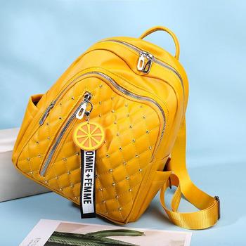 2020 wodoodporne PU skórzane plecaki kobiety szkolne torby dla nastolatków dziewczyny żółte plecaki szkolne kobiece torby podróżne na ramię tanie i dobre opinie SHEFLYTO Tłoczenie WOMEN Miękka 20-35 litr Wnętrza przedziału Komputer pośrednia Wewnętrzna kieszeń Wnętrze slot kieszeń