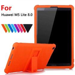 Étui souple en silicone pour Huawei MediaPad M5 Lite 8.0 T5 8 ''JDN2-W09HN AL00HN tablette étui de protection + 3 cadeaux gratuits