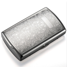 Metal Cigarette Case Box for 12-piece Chrome-plated Ultra-thin Portable Innovative Flower Pattern Cigarette Storage Case