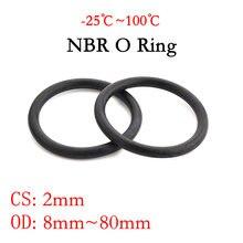 10 stücke NBR O Ring Dichtung Dichtung Dicke CS 2mm OD 8 ~ 80mm Nitril Butadien Gummi Spacer öl Widerstand Washer Runde Form Schwarz