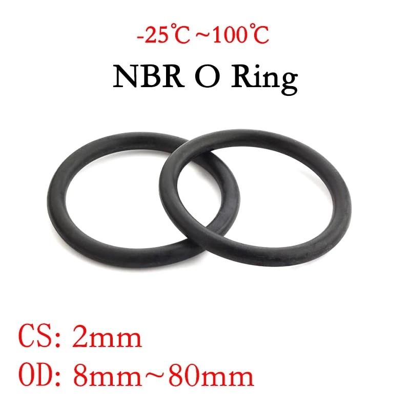 80mm OD 2mm Width Nitrile Rubber O-Rings Metric Buna-N Faucet O-Rings Round Sealing Gasket Black 50pcs