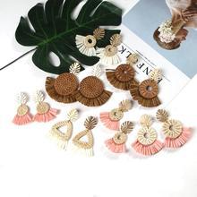 Fashion Gold Tropical Palm Leaf Drop Dangle Earrings for Women Summer Straw Rattan Knit Raffia Tassel Handmade Jewelry