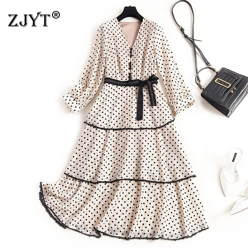 Fashion Women Spring Dress 2020 New Designer Elegant Lady V Neck Lace Up Polka Dot Print Beading Aline Mid Calf Casual Dresses