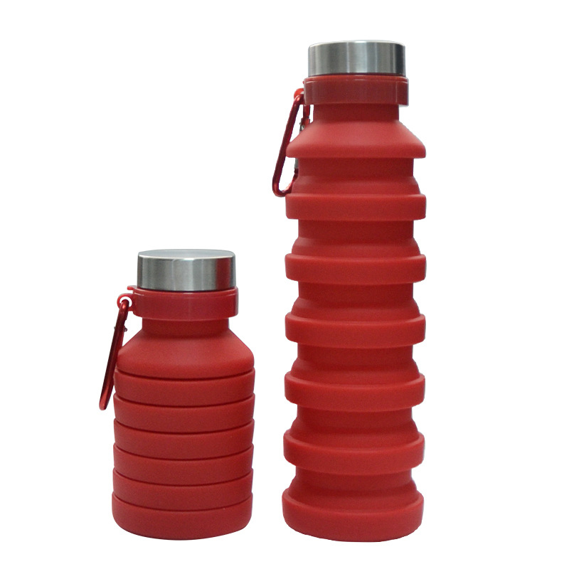550ML Collapsible Silicone Water Bottle Travel Outdoor Sport Retractable Folding Lead Proof Bottle Portable Drinking Bottles in Water Bottles from Home Garden
