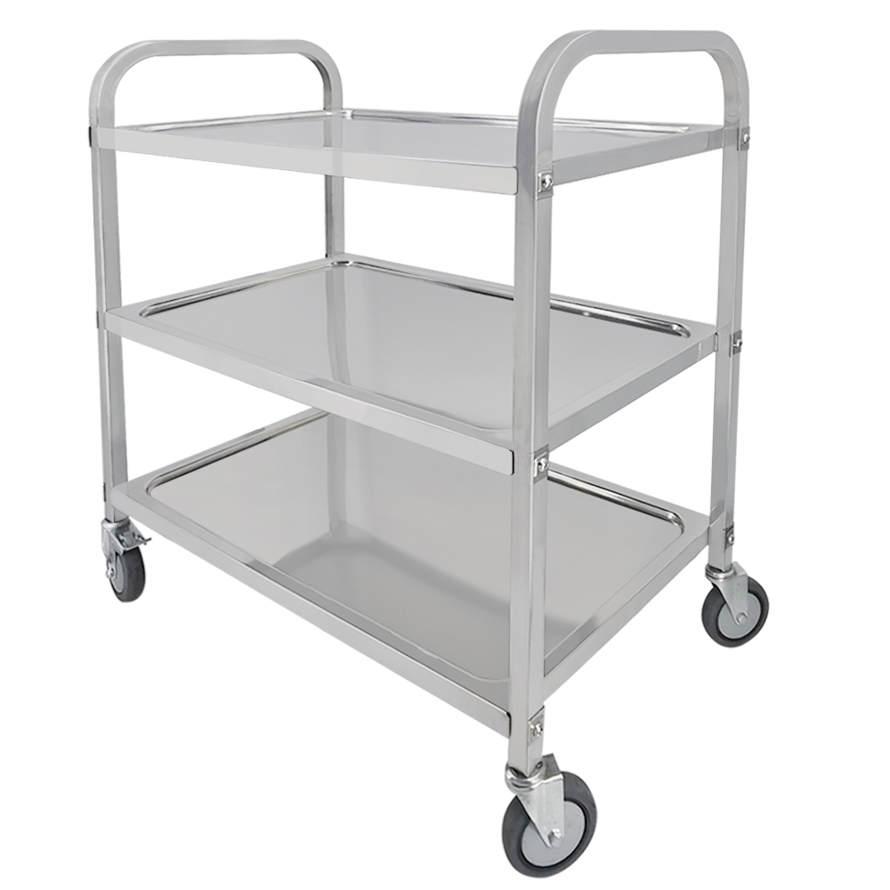 Large Stainless Steel Trolley Cart For Catering Hotel Restaurant Wheeled 3 Tier Storage Rack Shelf Trolley With PVC Wheels