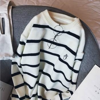 Pullovers Men Autumn Striped O neck Simple All match Korean Style Harajuku Ins Leisure Loose