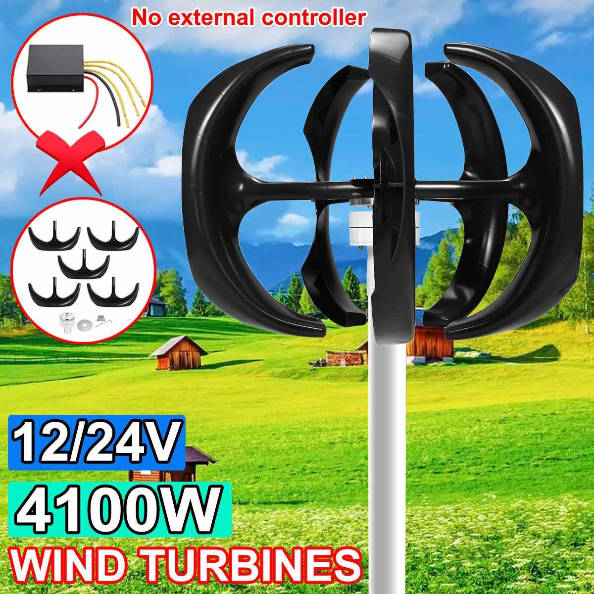 4100w 12v 24v eixo vertical turbinas eolicas gerador lanterna 5 laminas motor kit turbinas de carga