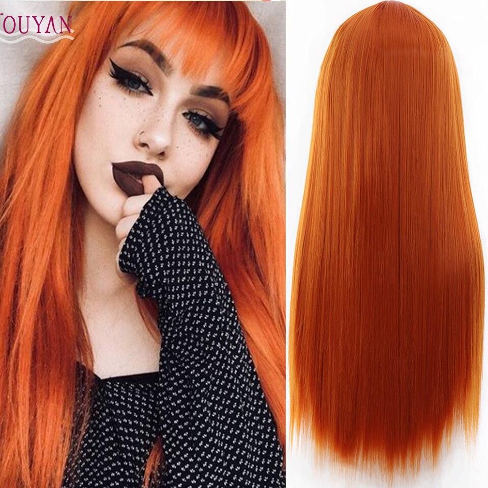 Peruca de alta temperatura sintética preta alaranjada do cabelo reto longo das senhoras de houyan com franja uso diário da festa
