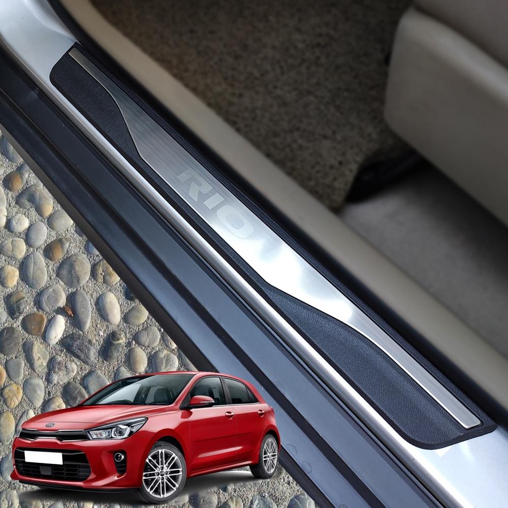 Protecteur de plaque éraflure pour Kia Rio 3 4 seuil de porte voiture style couverture pédale accessoires en acier inoxydable autocollant 2015 2017 2019 2014