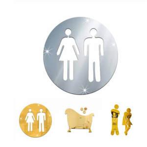 Mirror-Stickers Sign Washroom-Door Acrylic Home Man Hotel Wall 3D Woman