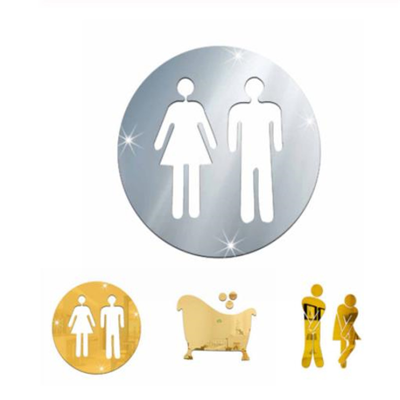 3D Acrylic Bathroom Mirror Stickers Woman&Man Toilet Sign Mirror Wall Sticker Home Hotel Washroom Door Sign Mirror Sticker