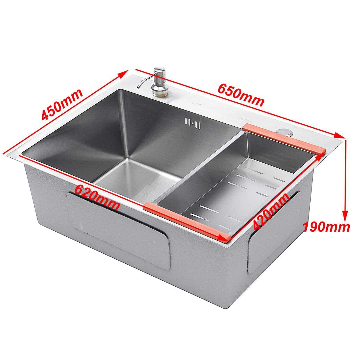 Évier de cuisine en acier inoxydable lavabo à vaisselle à fente unique 62*42cm lavabo à vaisselle avec panier de vidange distributeur de savon tuyau de vidange - 4