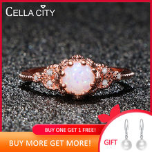 Cellacity 925 Sterling Silver ring with round Moonstone/Opal Gemstone Wedding Engagement Jewelry Finger ring Wholesale lady Gift(China)