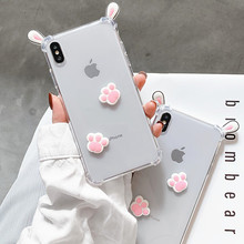 Pink 3D Cute Korean Rabbit Cat claw Transparent Cartoon Phone Case For iPhone X XS MAX XR 6 6s 7 8 Plus Cases TPU Silicone Cover