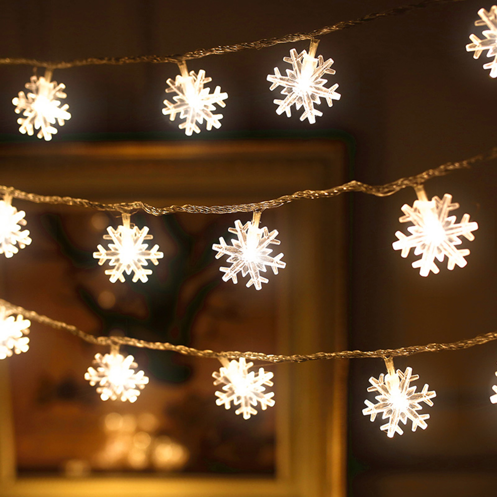 10M/6M 220V EU/Battery LED snowflake string light fairy curtain outdoor Christmas garland for holiday party New Year Decor