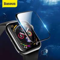 Baseus 0.2mm vidro temperado macio para iwatch 4 40 44mm 3d curvado filme protetor de tela capa completa para iwatch 3 2 1 38 42mm vidro