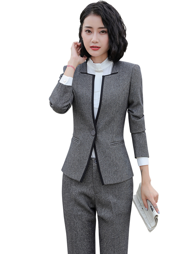 Ladies Grey / Black Blazer Women's Business Suit Formal Office trouser Suits Work Wear Pant with Jacket Sets OL Styles costumes