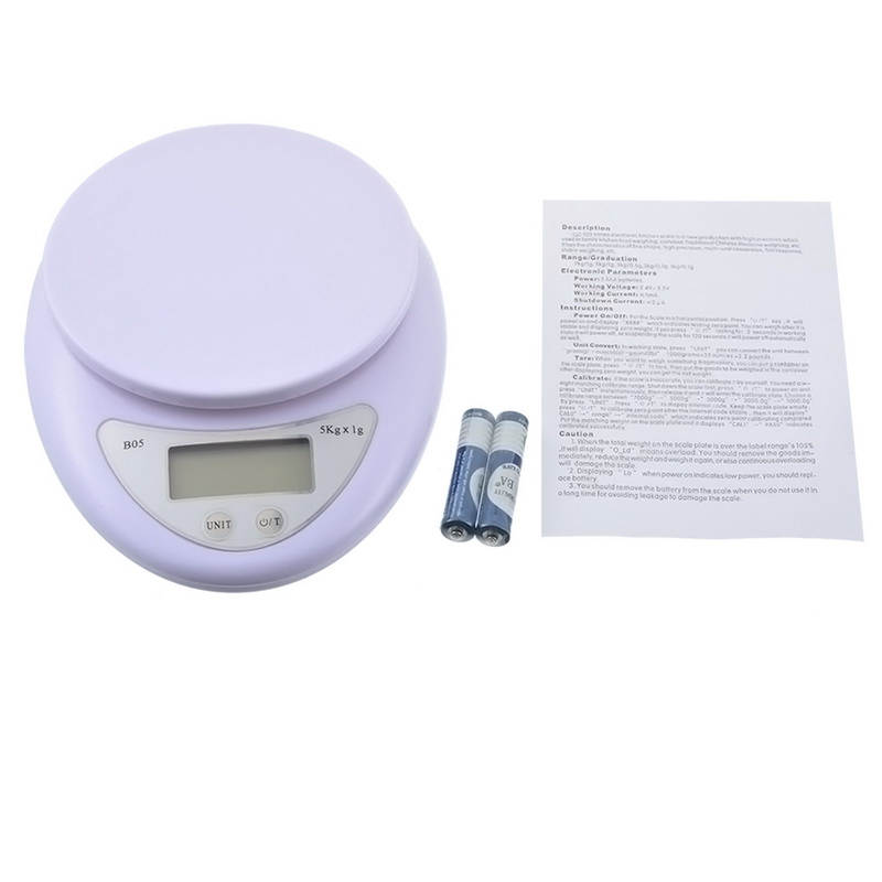 New Electronic Digital Kitchen Food Scale 5kg 5000g/1g Digital Scale Kitchen Food Diet Postal Scale Weight Scales Balance 6