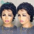 Парик Monstar с вырезами фея, парики из человеческих волос с короткими вьющимися волосами, бразильские волосы без повреждений, парики для женщи...