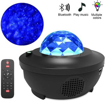 Romantic Colorful Starry Sky Ocean Projector Night Light Remote Control Wave Projection Lamp with Bluetooth Music Speaker
