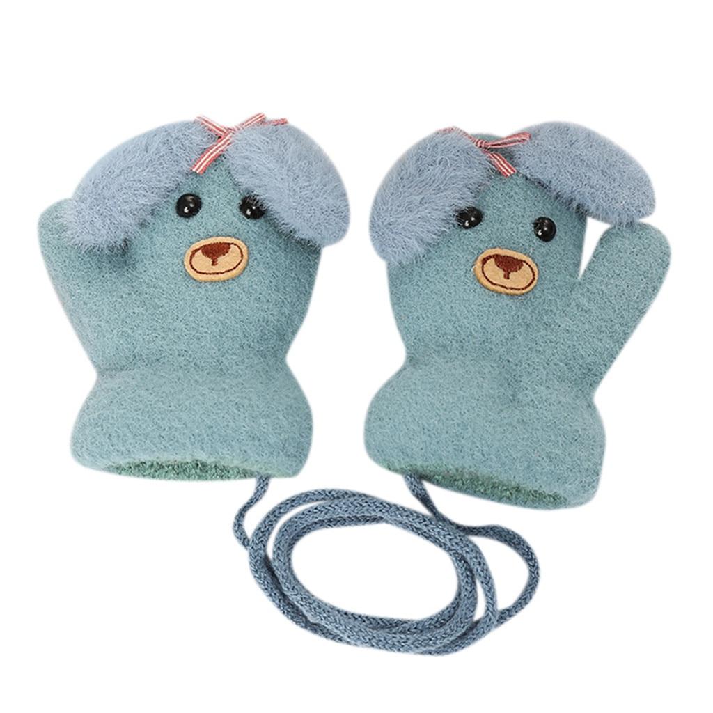 Детские теплые трикотажные зимние перчатки с милыми мультяшными животными для мальчиков и девочек, милые Мультяшные перчатки для детей, теплые зимние перчатки - Цвет: F