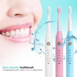 Elektryczna szczoteczka ultradźwiękowa dorośli dzieci wibracja 5 biegów USB elektryczna szczoteczka do zębów do ładowania pielęgnacja jamy ustnej